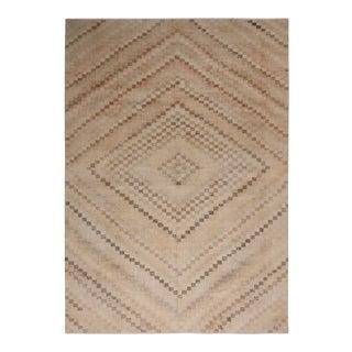 Vintage Mid-Century Beige-Brown and Black Geometric Wool Rug- 7′1″ × 10′1″ For Sale