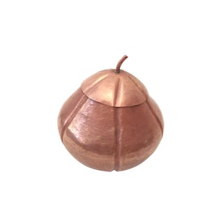Vintage Mid Century Modern Hand Hammered Copper Art Bowl With Lid For Sale