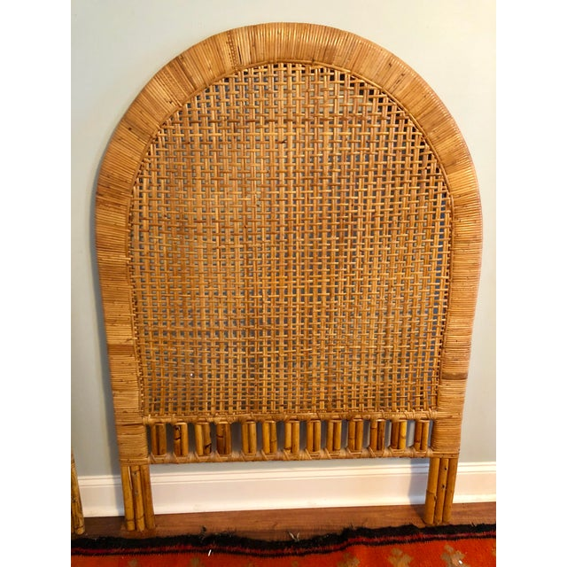 Vintage Mid-Century Arched Cane Rattan Twin Headboards - a Pair - Image 6 of 9