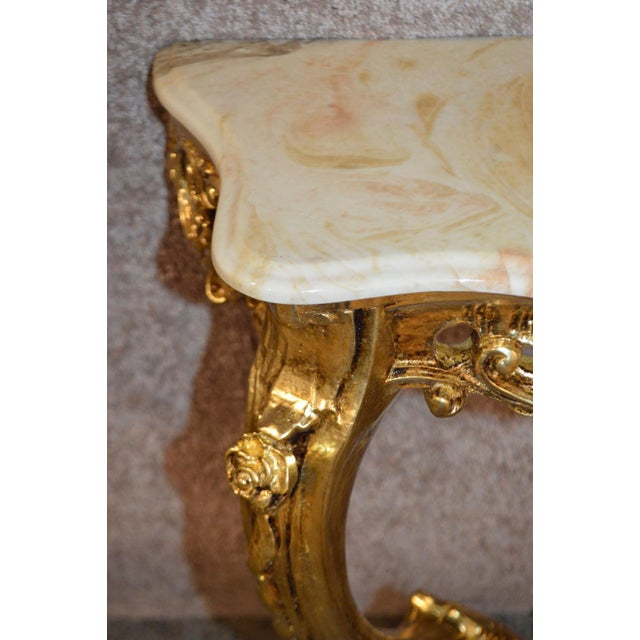 Carved French Style Marble Top Console Table - Image 10 of 11