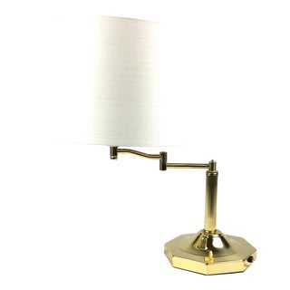 Modern Brass Lamp With Extension Arm & Shade For Sale