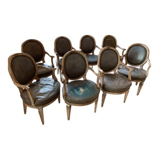 Vintage Mid Century Don Rousseau Louis XVI-Style Leather Fauteuils - Set of 8 For Sale