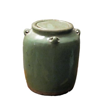 Asian Antique Turquoise Jar With Cover