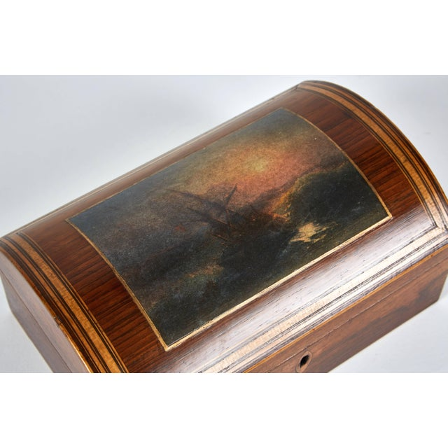 Wooden dome box with seascape scene from 1880s England.