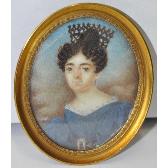 Mid 19th Century English School Miniature Portrait of a Lady in a Blue Dress For Sale - Image 4 of 5