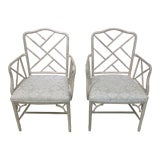 Image of Chinese Chippendale Faux Bamboo Armchairs - a Pair For Sale