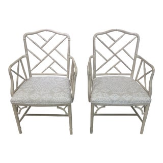 Chinese Chippendale Faux Bamboo Armchairs - a Pair For Sale