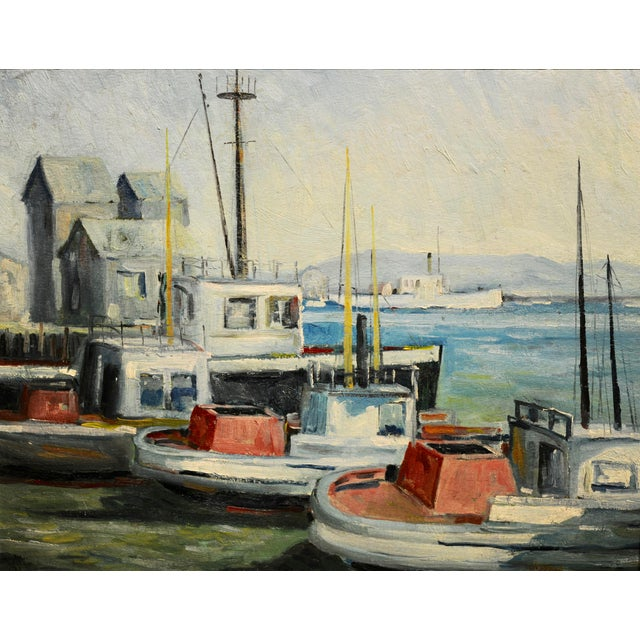 Illustration John Earle Coolidge - Boats at the La Harbor 1935 - Oil Painting For Sale - Image 3 of 9