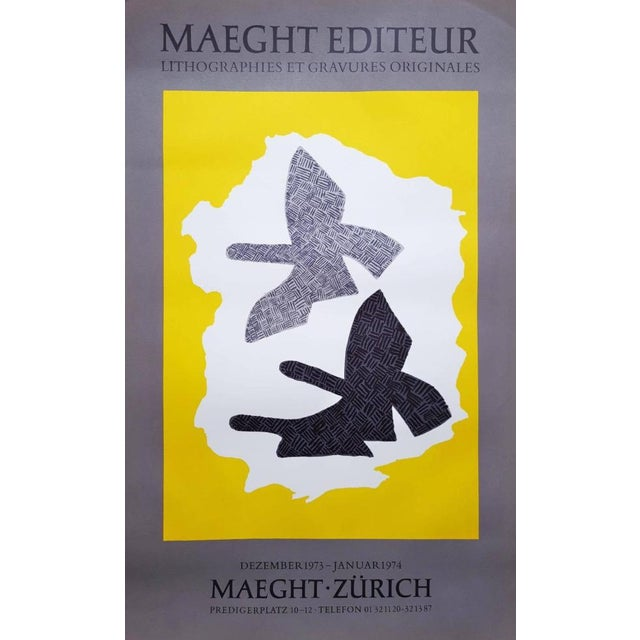 "An original lihograph exhibition poster by French artist Georges Braque (1882-1963) titled ""Zurich"", 1973. This original..."