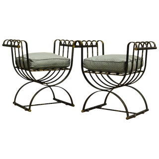 Pair of Classical Style Steel Patinated Curule' Chairs With a Modern Twist