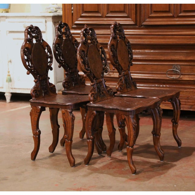 Brown Set of Four 19th Century French Black Forest Carved Walnut Chairs For Sale - Image 8 of 13