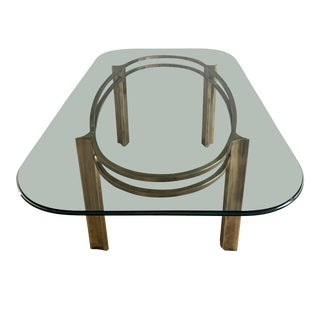1980s Vintage Mastercraft for Baker Furniture Brass and Glass Dining Table For Sale
