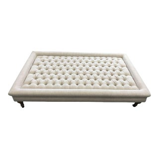 Off-White Tufted Coffee Table Ottoman