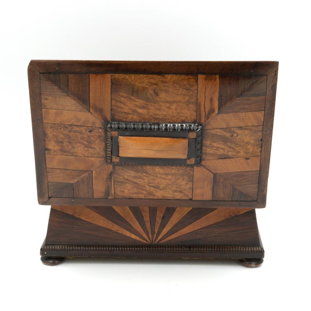 Brown Lovely Pagoda Shape Box With Sunburst Marquetry, English, Circa 1850. For Sale - Image 8 of 11