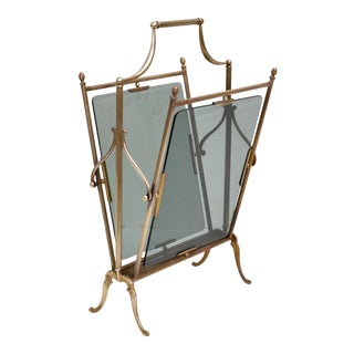 Jacques Adnet French Neoclassical Brass & Smoked Glass Magazine Rack For Sale