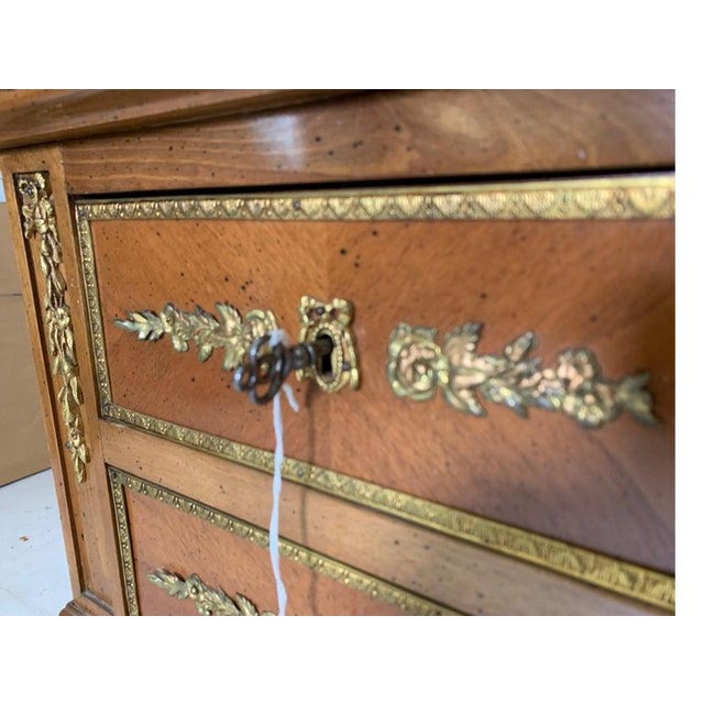 French Style Mahogany and Satinwood Writing Desk With Ormolu For Sale - Image 10 of 13