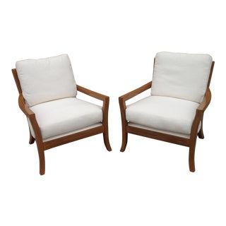 Modern White Chenille Upholstered Lounge Chairs - a Pair For Sale
