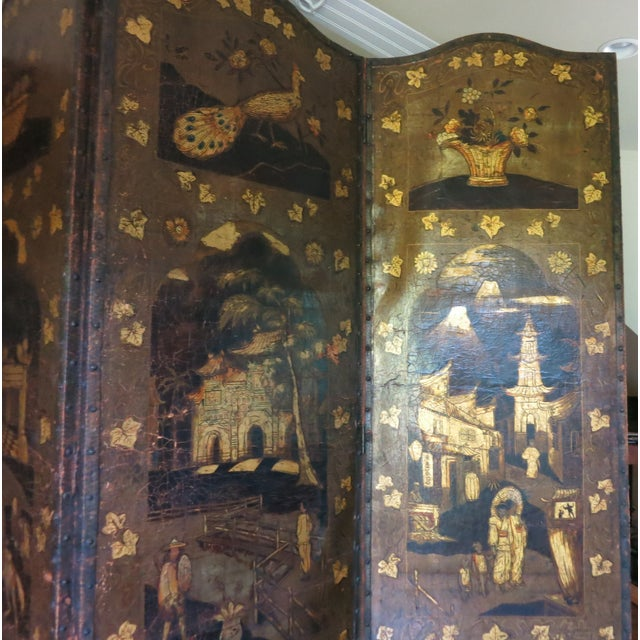 19th Century Antique Leather Screen Embossed and Gilded For Sale In New York - Image 6 of 8