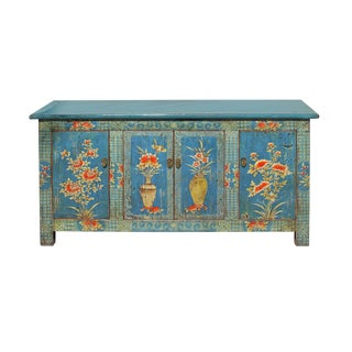 Chinese Distressed Bright Blue Flower Graphic Tv Console Cabinet