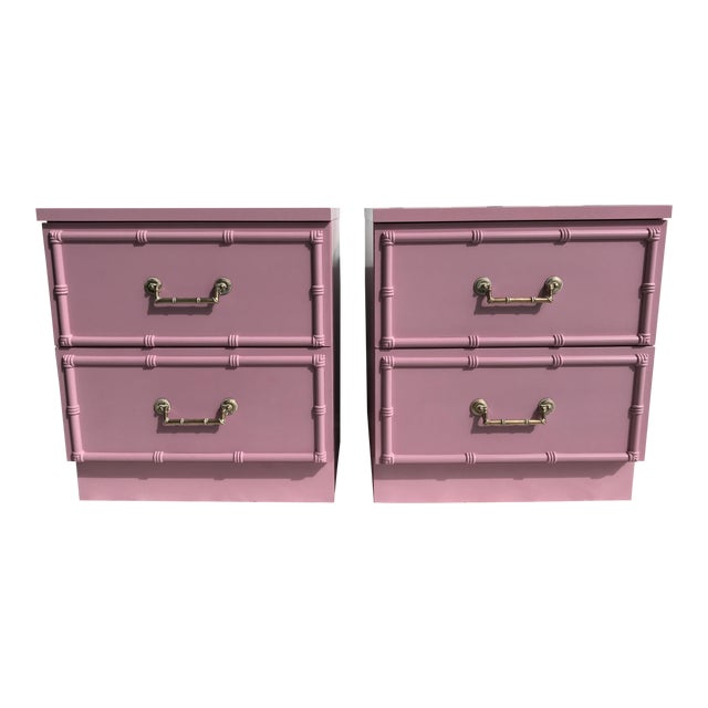 Pink Lacquered Faux-Bamboo Nightstands - A Pair - Image 1 of 8