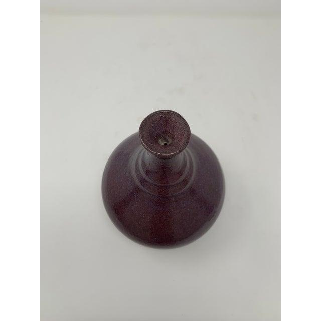Eggplant Mid 20th Century Plum Glazed Ceramic Vase For Sale - Image 8 of 11