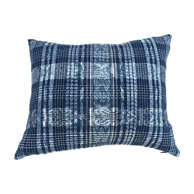 Pair of pillows in vintage indigo and white ikat plaid handwoven cotton Guatemalan skirt fragment from a Paris flea...