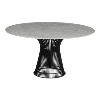 1970s Warren Platner Dining Table, Custom Blackened Base With Carrera Italian Marble Top For Sale