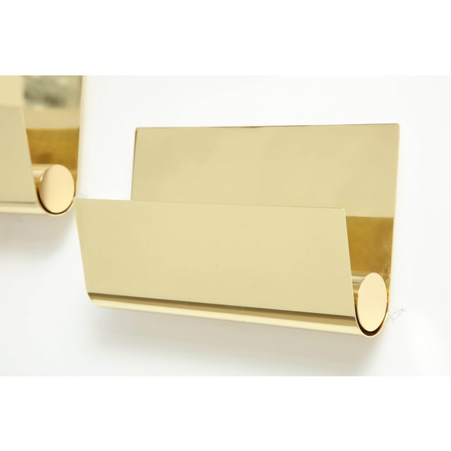 Minimalist Italian Brass Sconces - a Pair For Sale - Image 4 of 9