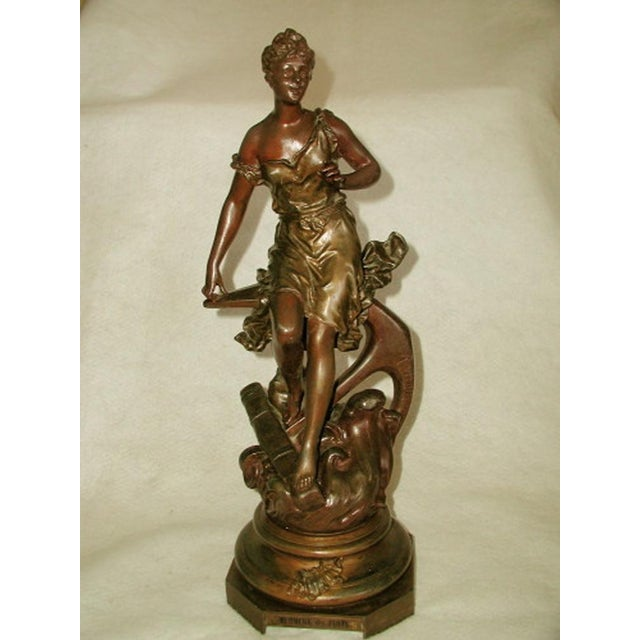 """Sculpture of """"Murmure des Flots"""" by Ernest Rancoulet C.1900 France. The name of the piece incised on the round base front..."""