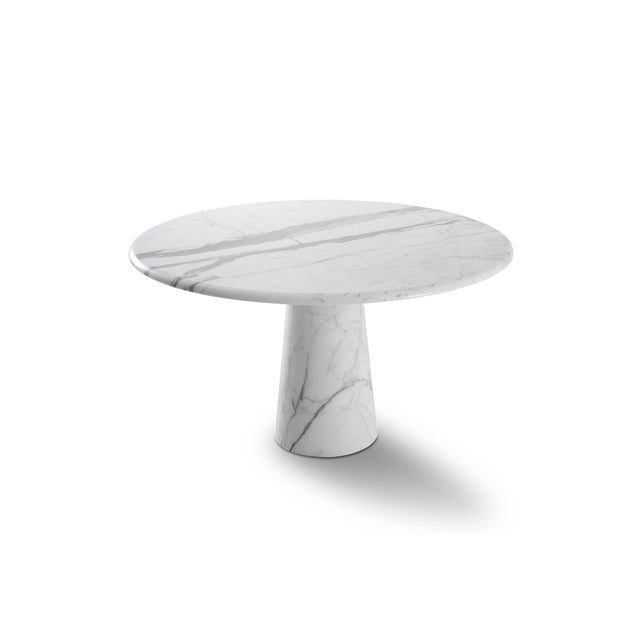 Midcentury Round Italian Carrara Marble Dining Table For Sale - Image 13 of 13