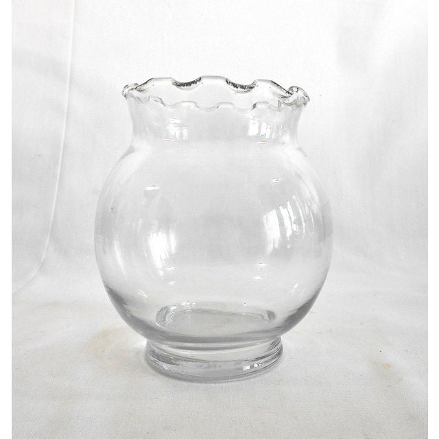Crimped Edge Clear Glass Vase Chairish