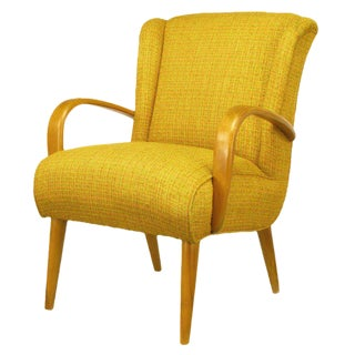 Circa 1940s Maple Wood & Saffron Upholstered Lounge Chair For Sale