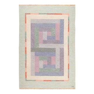 Vintage Swedish Scandinavian Geometric Rug Signed Nn - 5′5″ × 8′ For Sale