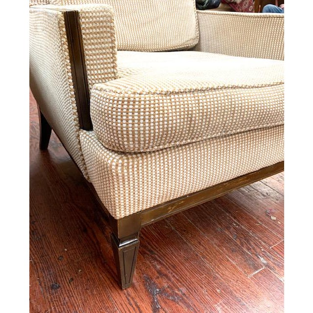 Mid 20th Century Pair, Mid Century Club Chairs on Beige For Sale - Image 5 of 7