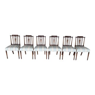 Vintage Hepplewhite Mahogany Side Chairs- Set of 6 For Sale