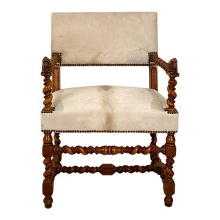 Circa 18th Century Baroque Walnut Armchair, Italy For Sale
