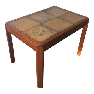 Vintage Mid Century Danish Modern Tile Top Side Table by Uldum Moblerfabrik Denmark For Sale
