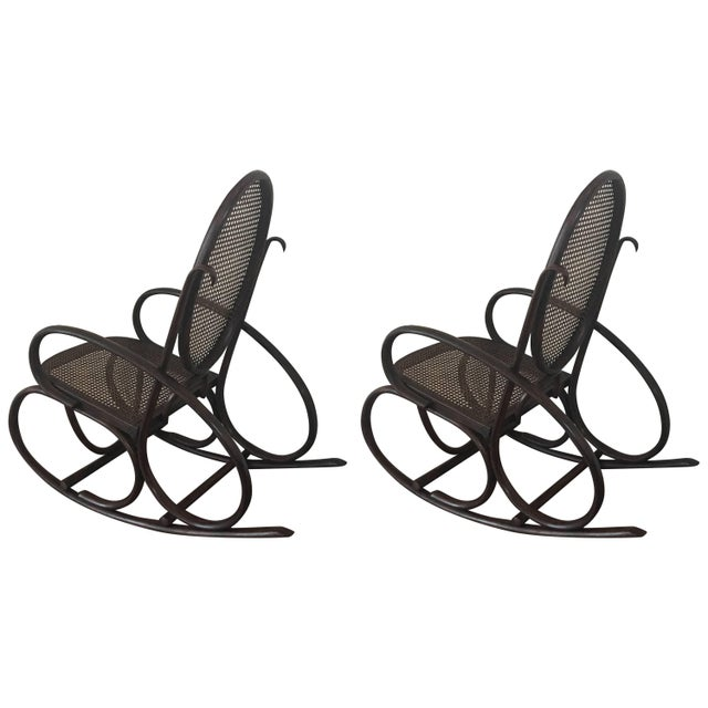 Midcentury Elegant Rattan Pair of Rocking Chairs in the Thonet Style For Sale - Image 10 of 10