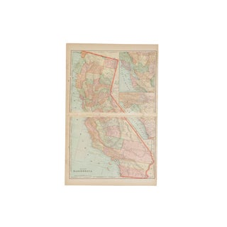 Cram's 1907 Map of California For Sale