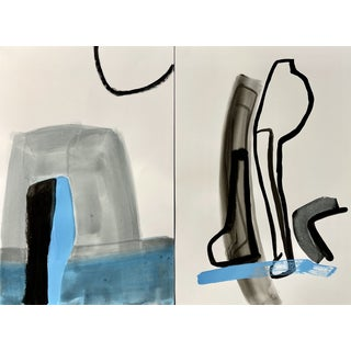"""""""Expedition Parts One and Two"""" Contemporary Abstract Acrylic Painting by Carolyn Reed Barritt - Diptych For Sale"""