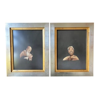 Framed Japanese Embroidery Art Portraits - A Pair For Sale