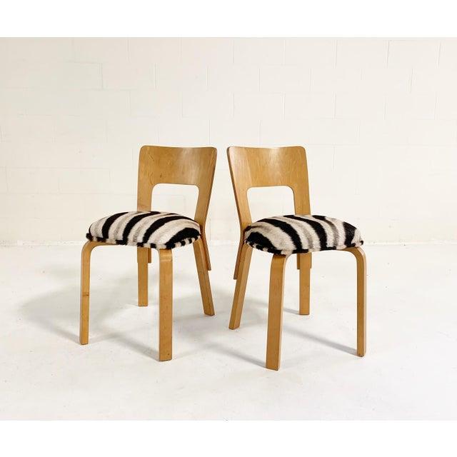 Alvar Aalto Model 66 Chairs in Zebra Hide, Pair For Sale - Image 9 of 9