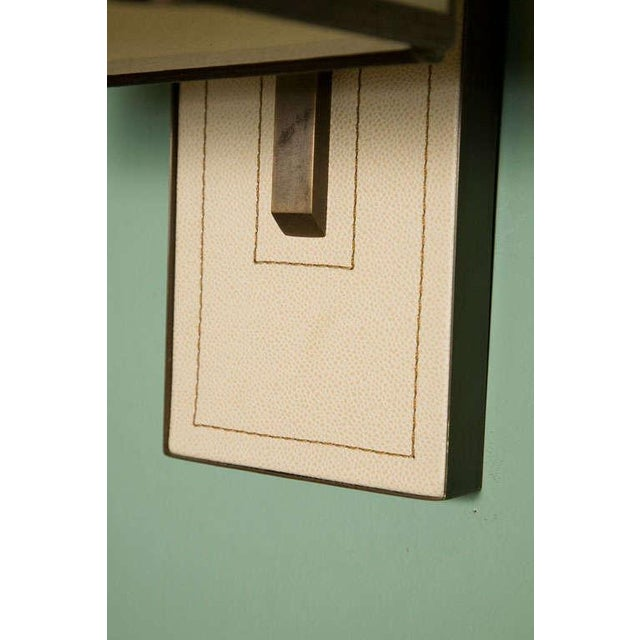 Modern Paul Marra Leather Back Sconce with Oiled Paper Shade For Sale - Image 3 of 6