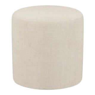 Drum Ottoman in Talc Linen For Sale