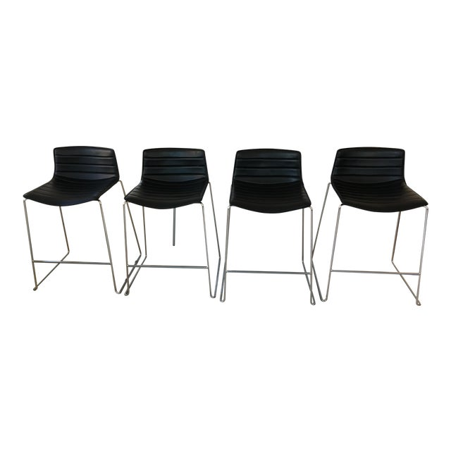 Black Leather Counter Stools by Arper - Set of 4 - Image 1 of 7
