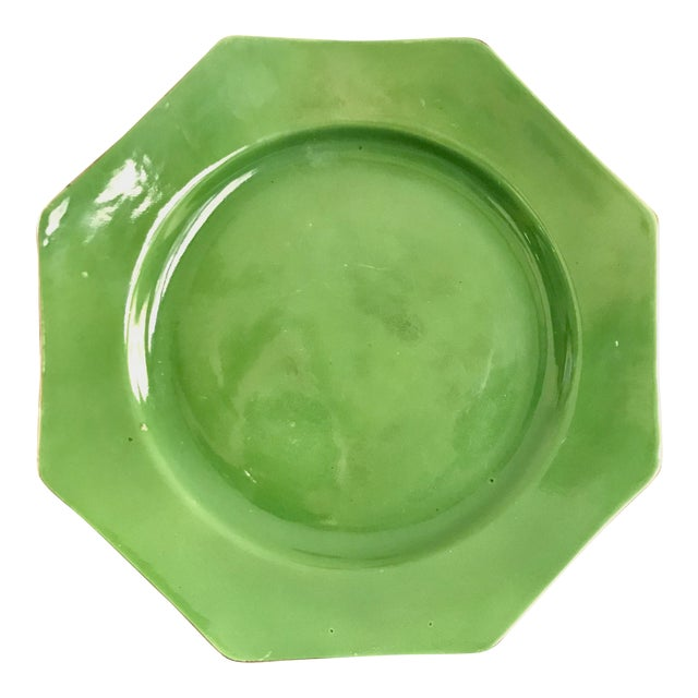 Antique English Crown Ducal Ware Green China Hexagon Plate For Sale
