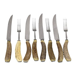 Stag-Horn Handle Steak Set, Svc for 4 For Sale
