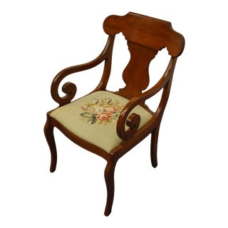 1940's Vintage Antique Duncan Phyfe Dining Arm Chair For Sale
