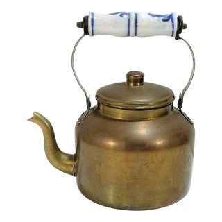 Vintage Blue and White Porcelain Handled Brass Teapot For Sale