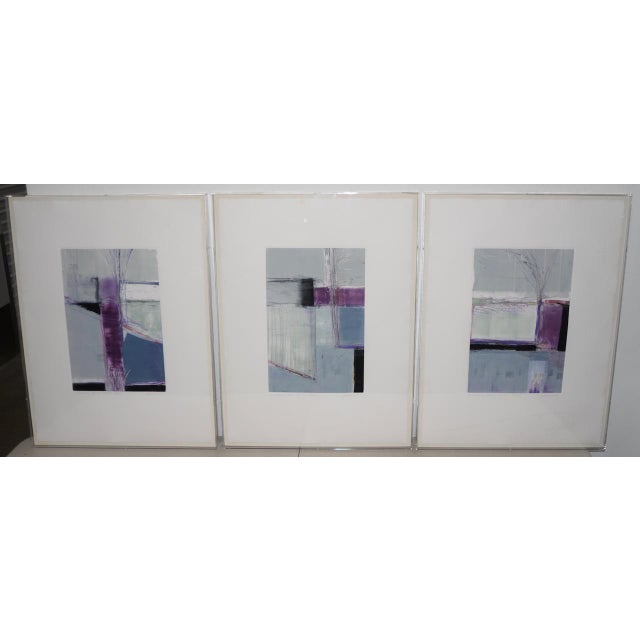 "Ron Pokrasso (Santa Fe, 20th C.) ""A Relationship Between Trees #2"" Triptych Monotype C.1988 For Sale - Image 10 of 10"